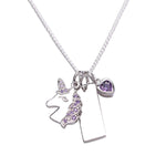 Sterling Silver Unicorn Bar Necklace with Heart (BCN-Unicorn Cluster-Lav)