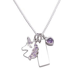 Sterling Silver Unicorn Engraved Bar Necklace with Heart (BCN-Unicorn Cluster-Lav)