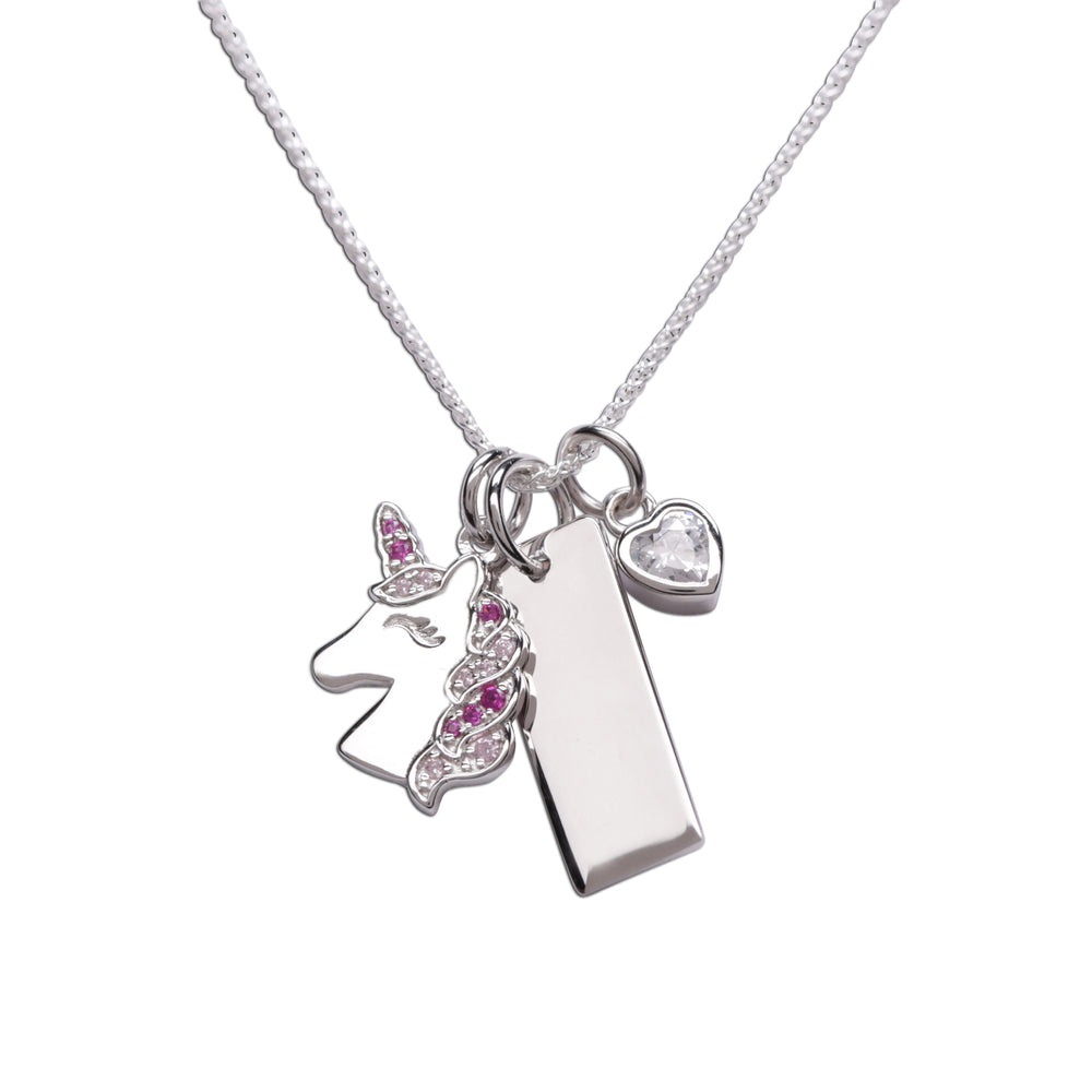 Sterling Silver Unicorn Bar Necklace with Heart (BCN-Unicorn Cluster-Pink)