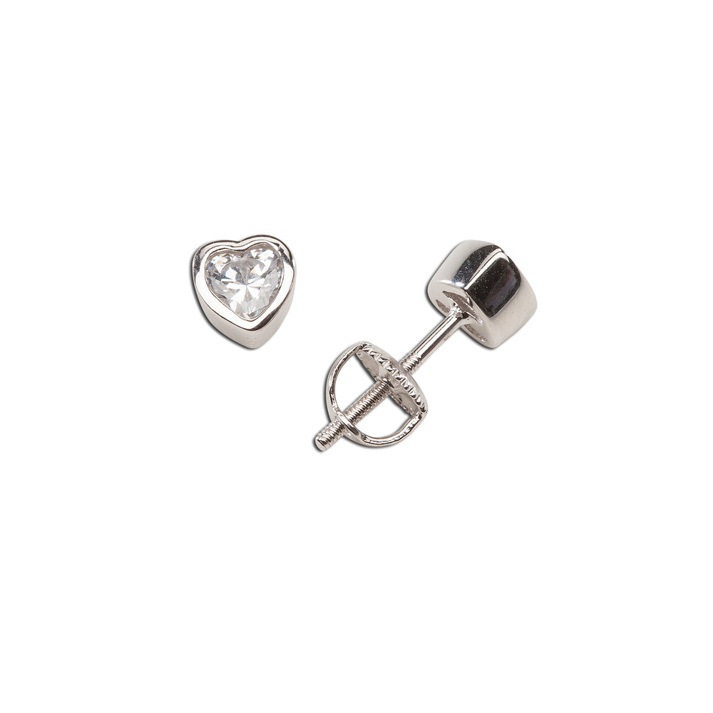 Sterling Silver Baptism CZ Heart Earrings (BE-CZ Heart)