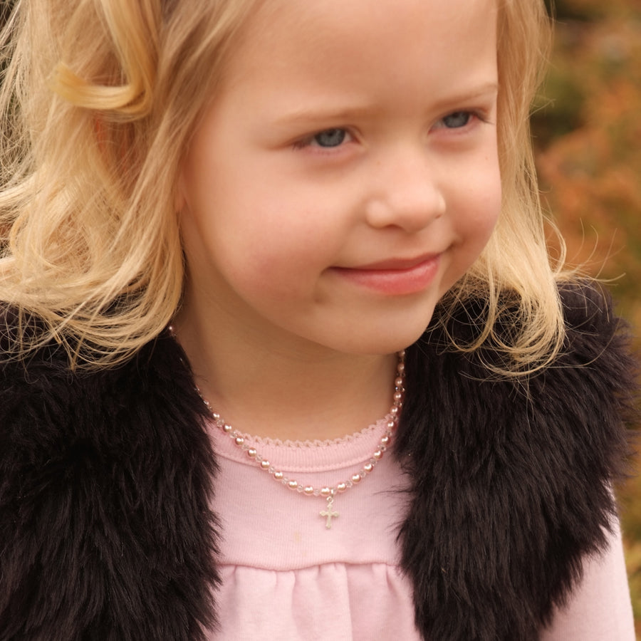 pink cross necklace for little girls