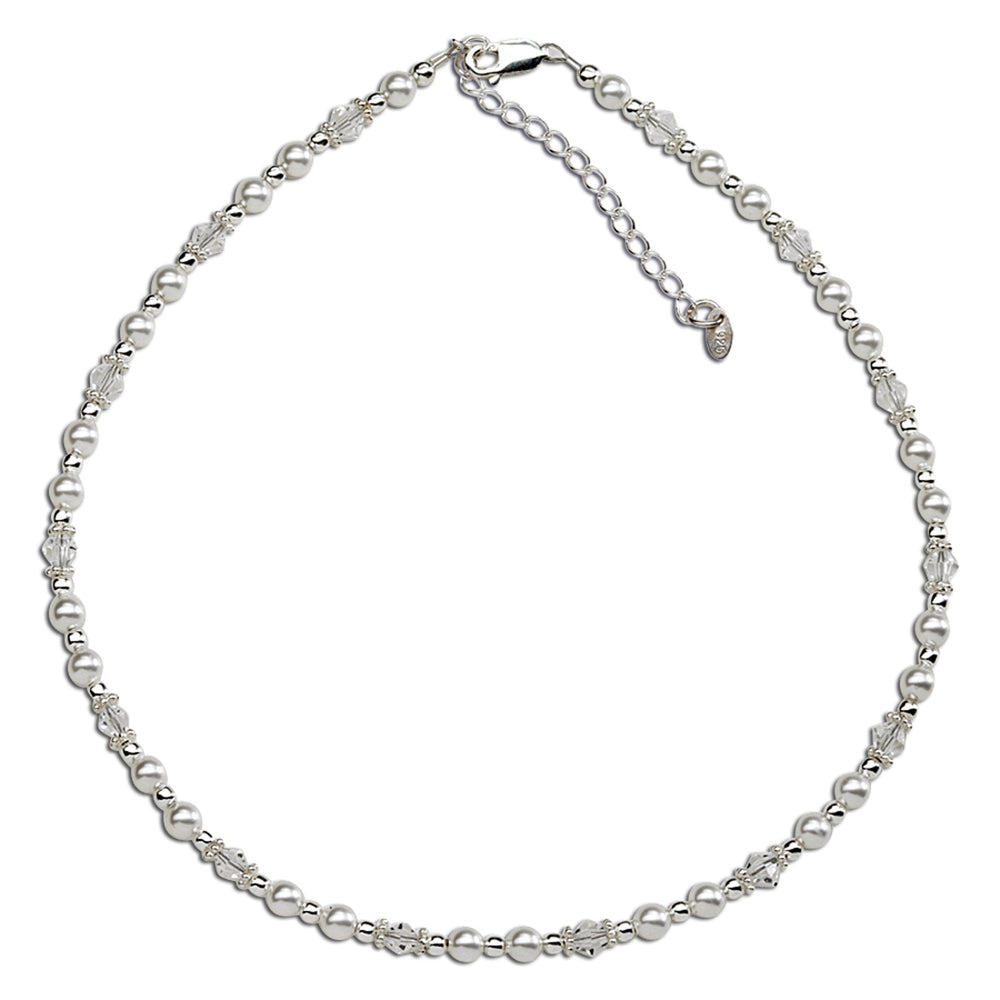Sterling Silver Pearl/Crystal Necklace (BN-Hope)