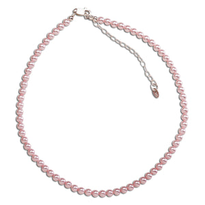 Girls Pink Pearl Necklace in Sterling Silver for Kids