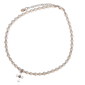 Load image into Gallery viewer, Sterling Silver Pearl Cross Necklace for Children First Communion