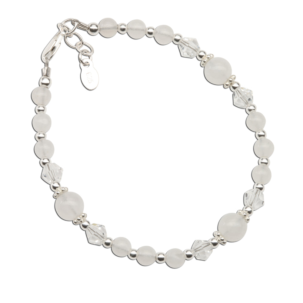Baptism Bracelet with White Jade and Crystals (6-12 years)