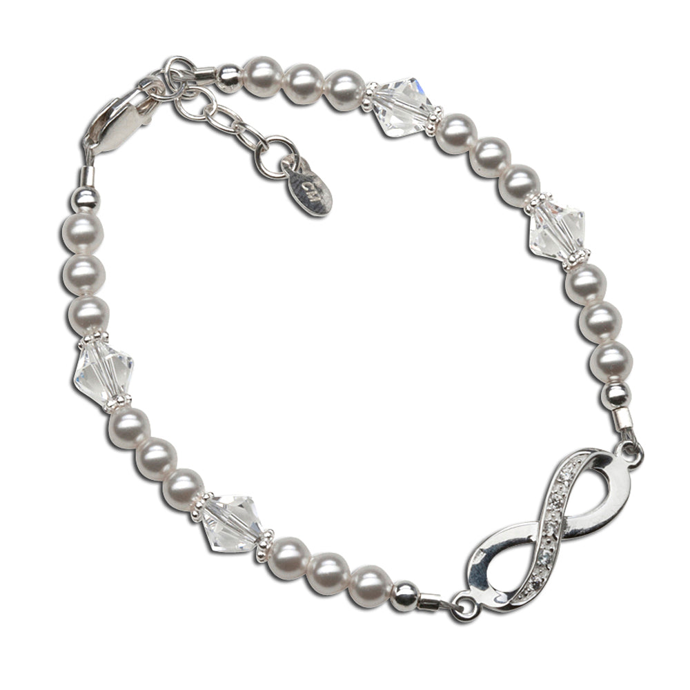 Sterling Silver LDS Baptism Infinity Bracelet with White Pearl and Crystals (6-12 years)