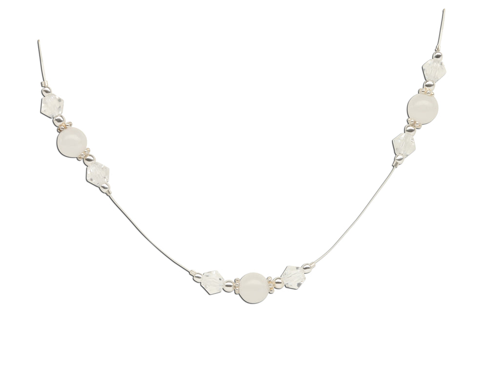 Sterling Silver LDS Baptism Necklace with White Jade (6-12 years)