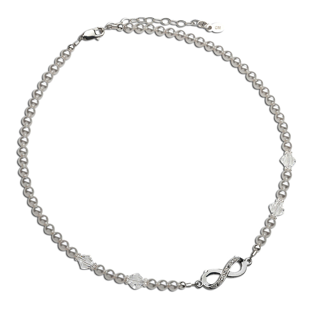 Sterling Silver LDS Baptism Infinity Necklace (6-12 years)