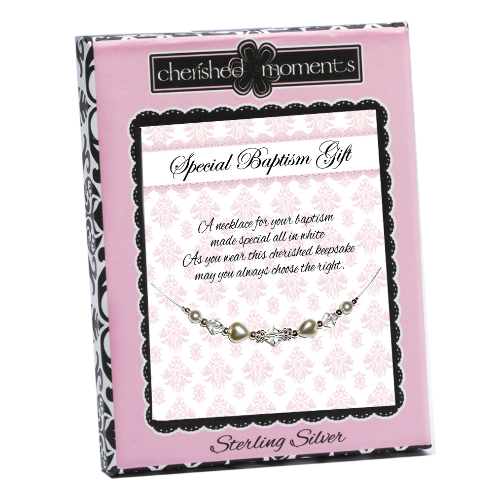 Sterling Silver LDS Baptism Necklace with Pearl Hearts (6-12 years)