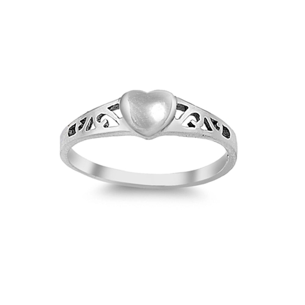 Sterling Silver Baby Ring with Heart Embellishment (BR-RP029)