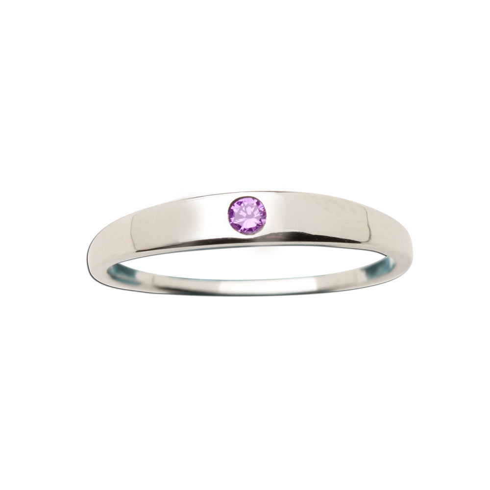 Sterling Silver Baby Ring with Amethyst CZ (BR-04-Amethyst)