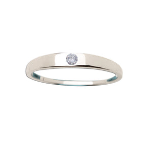 Load image into Gallery viewer, Sterling Silver Baby Ring with Clear CZ (BR-04-Clear)