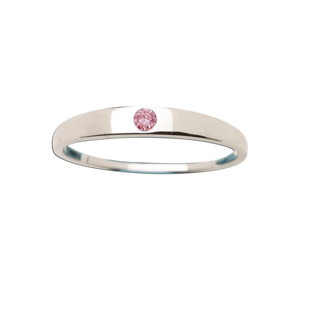 Sterling Silver Baby Ring with Pink CZ (BR-04-Pink)