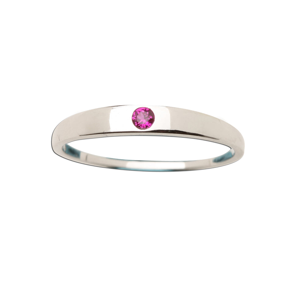 Sterling Silver Baby Ring with Ruby CZ (BR-04-Ruby)