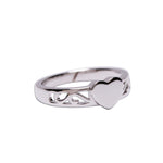 Sterling Silver Baby Heart Ring - Engraved Initial Heart Ring (BR-07)