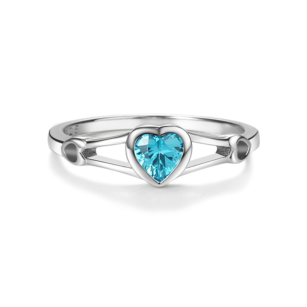 Sterling Silver Baby Ring with CZ Heart (BR-61-Aqua)
