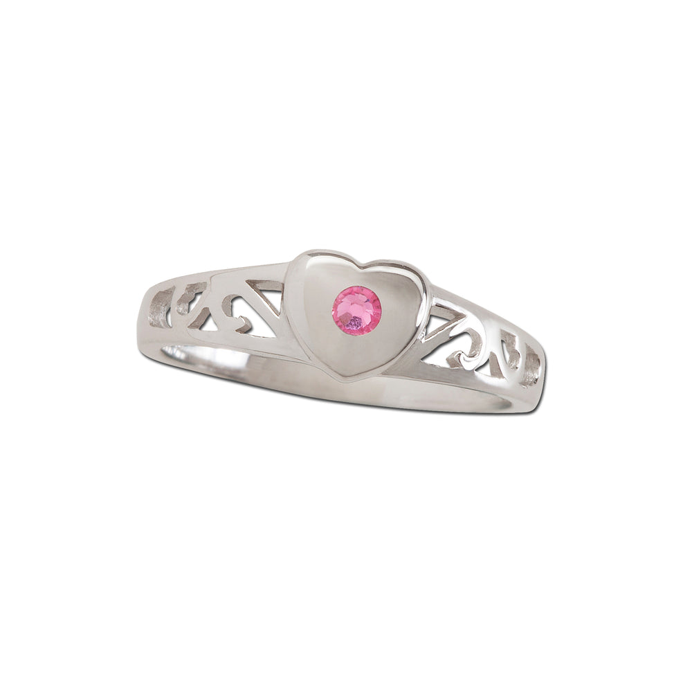 Timeless Sterling Silver Heart Ring with Pink Sapphire (TCR-29-Pink)