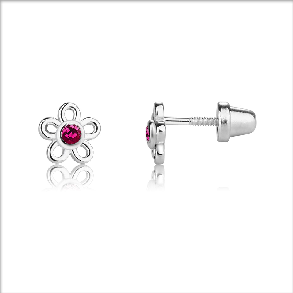 Sterling Silver Birthstone Daisy Earrings (BSED-Month)