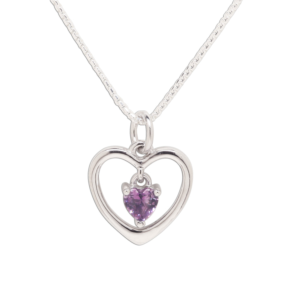 Sterling Silver Birthstone Dancing Heart Necklace (BSN-DH-Month)
