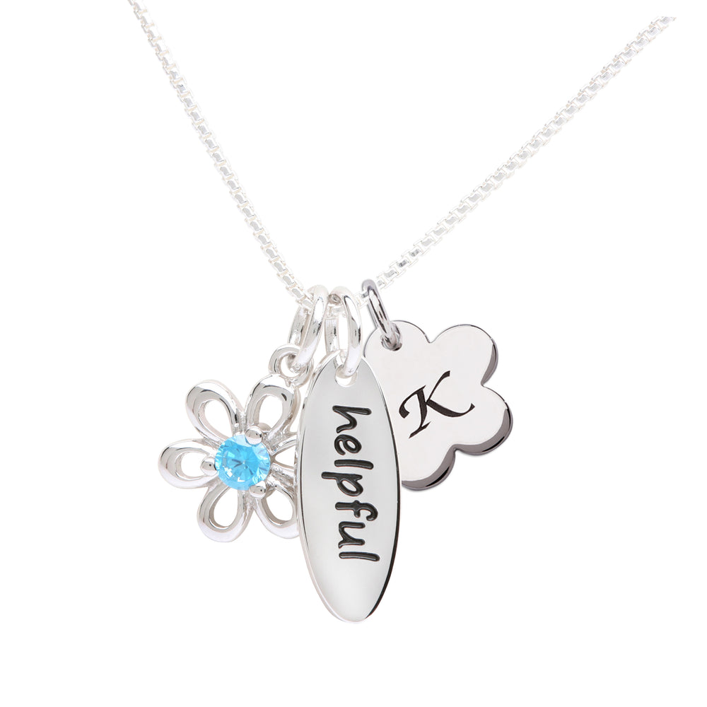 Sterling Silver Birthstone Necklace with Meaning (BSN-Meaning)
