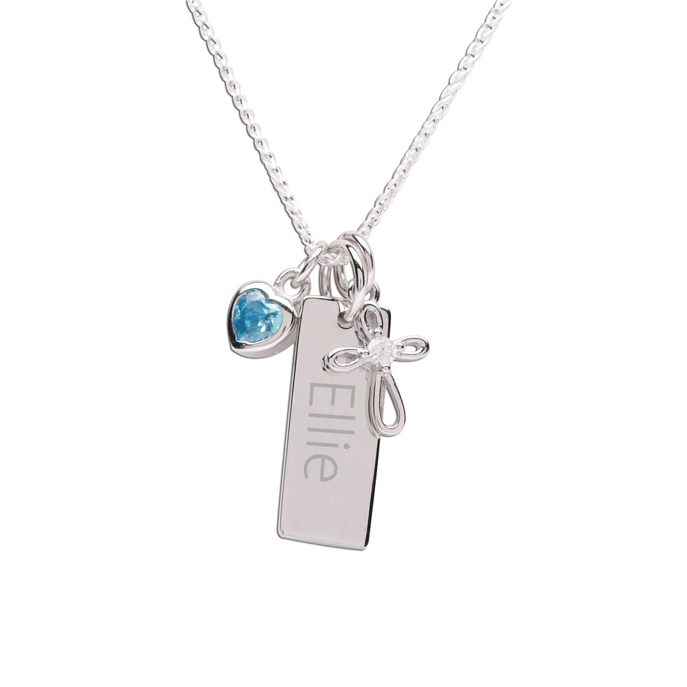 Sterling Silver Bar Necklace with Cross and CZ Birthstone Heart (BSN-Bar Cross CZ Heart)