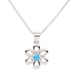 Sterling Silver Birthstone Daisy Flower Necklace (BSND-Month)