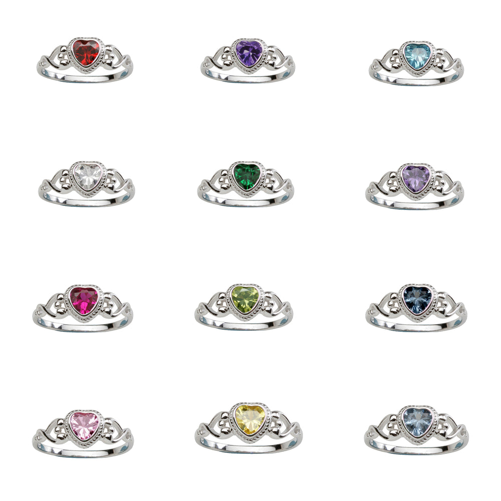 12-Piece Sterling Silver Baby Birthstone Ring Assortment (Heart)