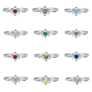 12-Piece Sterling Silver Baby Birthstone Ring Assortment (Daisy)