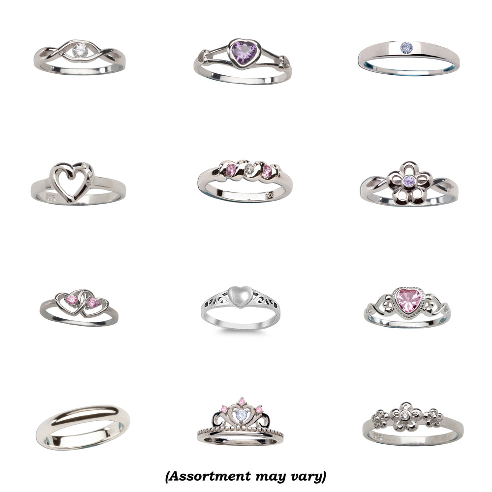 Sterling Silver Baby Ring Assortment (12 Pieces)
