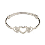 Bangle (Adjustable) - Sterling Silver Heart Bracelet