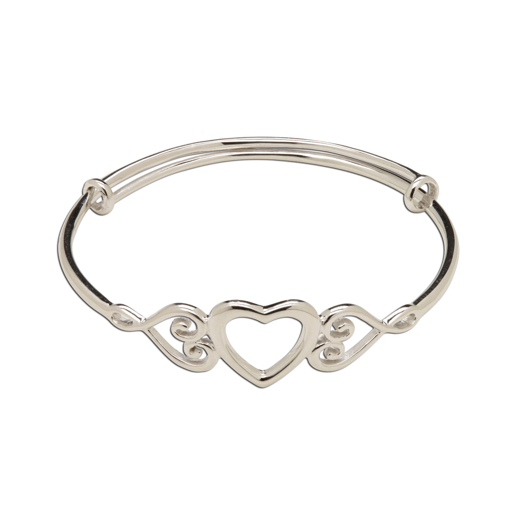 Sterling Silver Heart Bracelet-Adjustable (TC-Samantha)