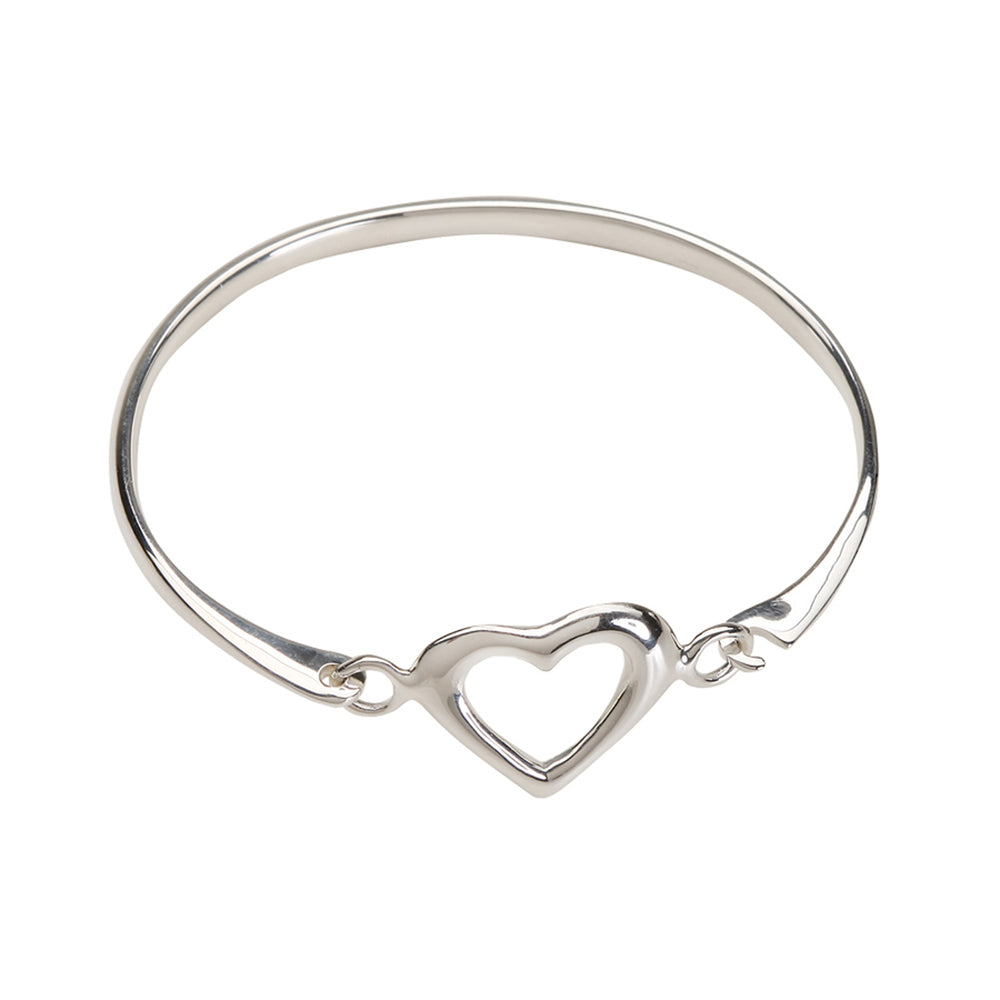 Sterling Silver Heart Bangle Bracelet (TC-Vanessa)