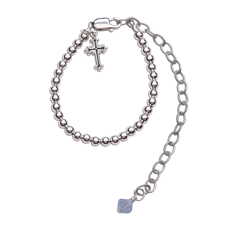 Boy's Blessing to Bride Sterling Silver Christening Bracelet (TC-Blessing-B-Boy)