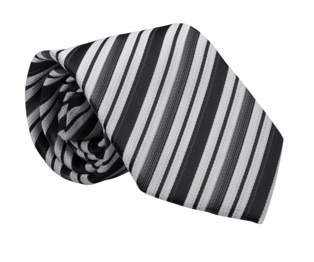 LDS Baptism Tie with CTR Oval Tie Pin (BTP-Black Stripe)