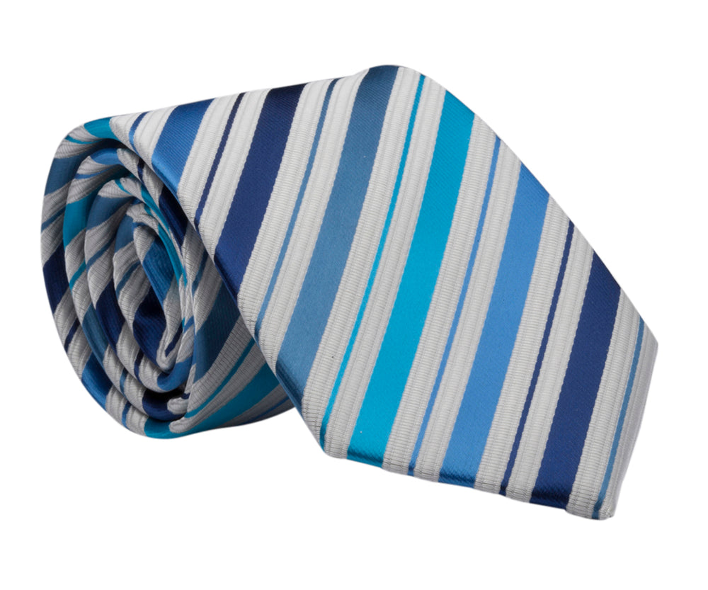 LDS Baptism Tie with CTR Oval Tie Pin (BTP-Blue/Silver)