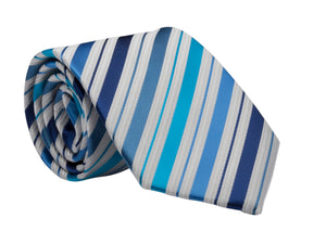 LDS Missionary Tie w/Stripling Warrior Pin (Blue Stripe)
