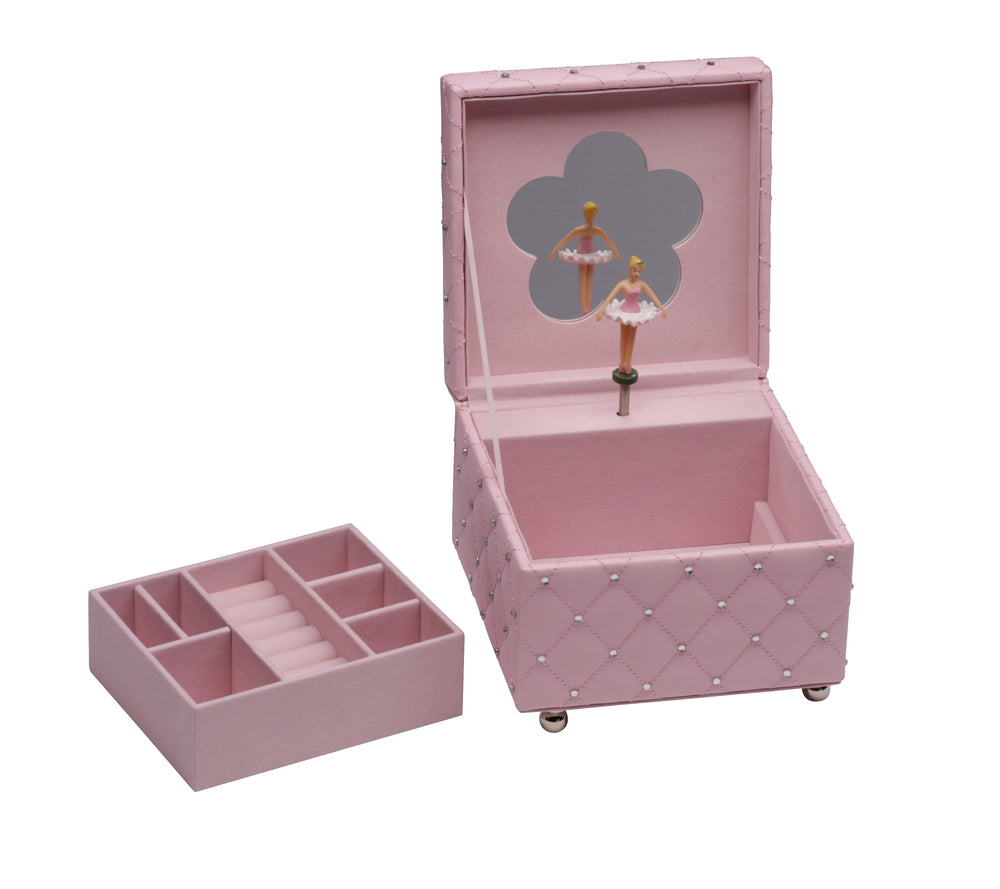 Pink Musical Jewelry Box with Ballerina and FREE Heart Necklace (MJB-Pink)