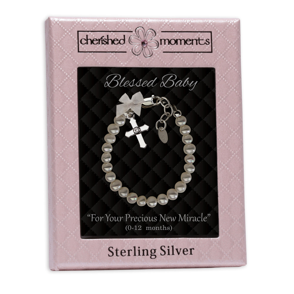 Load image into Gallery viewer, Sterling Silver Freshwater Pearl Cross Baptism Bracelet (CHR-01F)