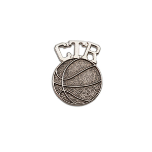 Load image into Gallery viewer, LDS Baptism CTR Basketball Tie Pin (BTT-BKT)