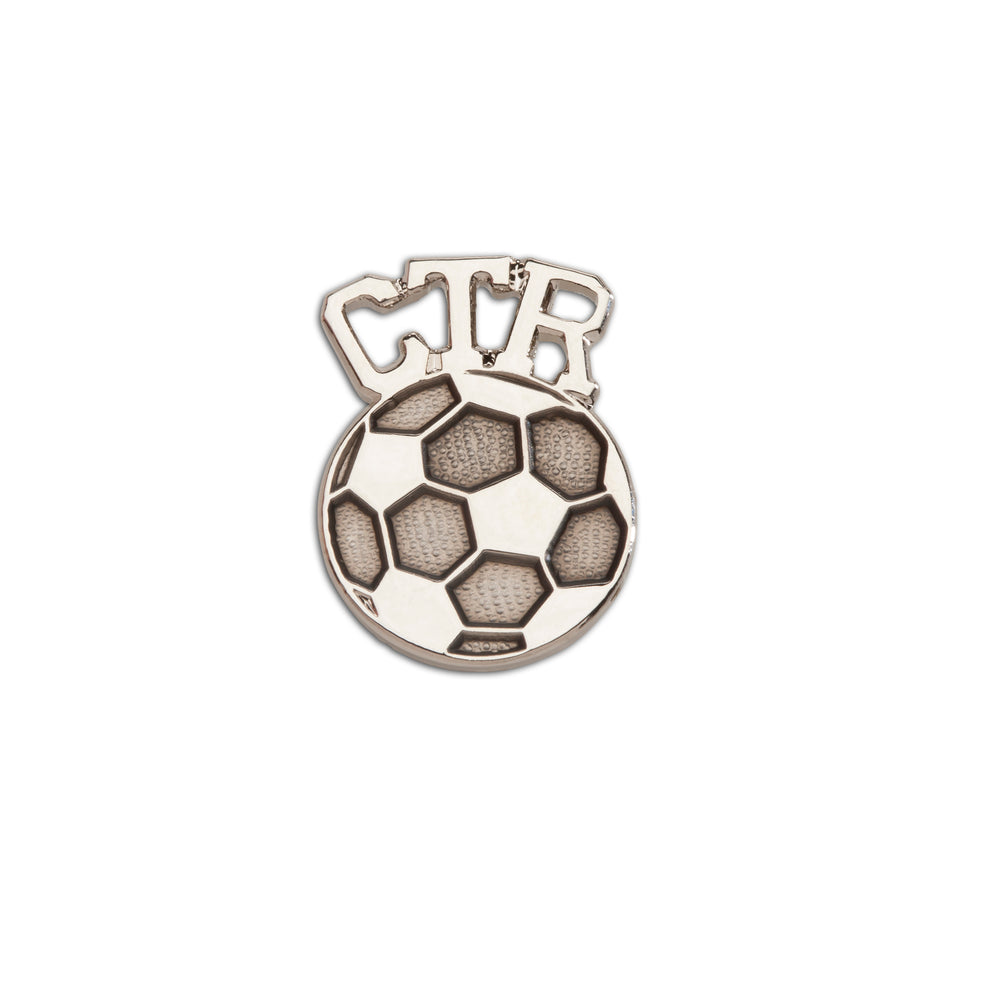 Load image into Gallery viewer, LDS Baptism CTR Soccer Pin (BTT-SCR)
