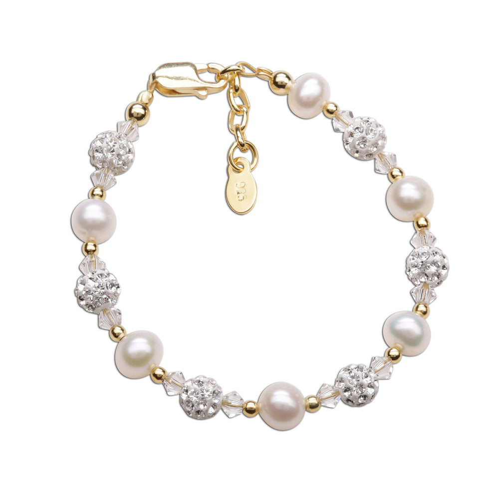 Load image into Gallery viewer, Charlotte - 14K Gold Plated Pearl Bracelet