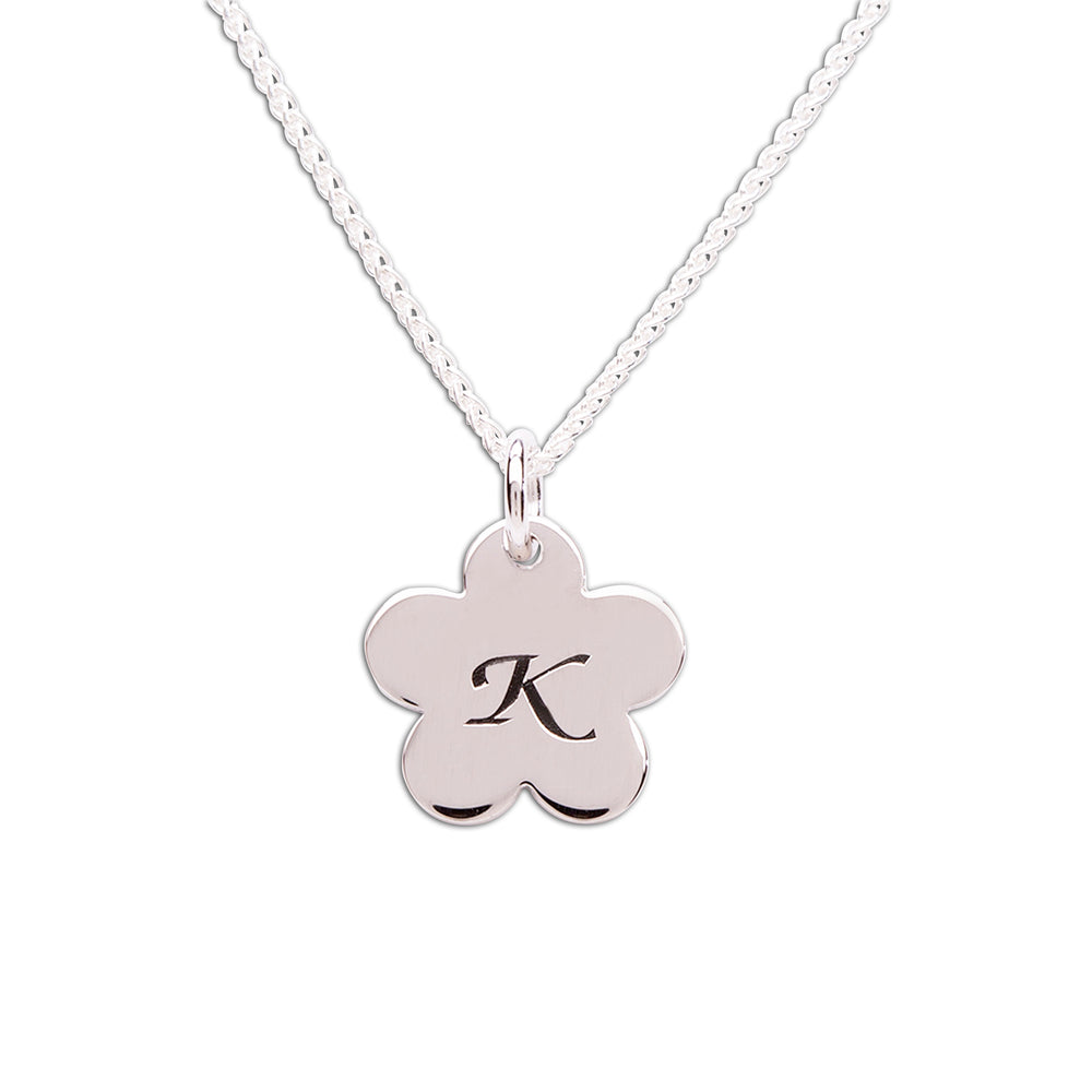 Sterling Silver Initial Daisy Necklace (BCN-Initial Daisy)