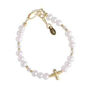 Eve  - 14K Gold-Plated Pearl Bracelet with Cross