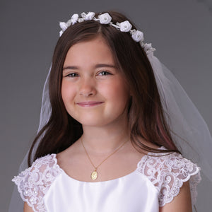Girls Gold-Plated First Communion Miraculous Medal Necklace