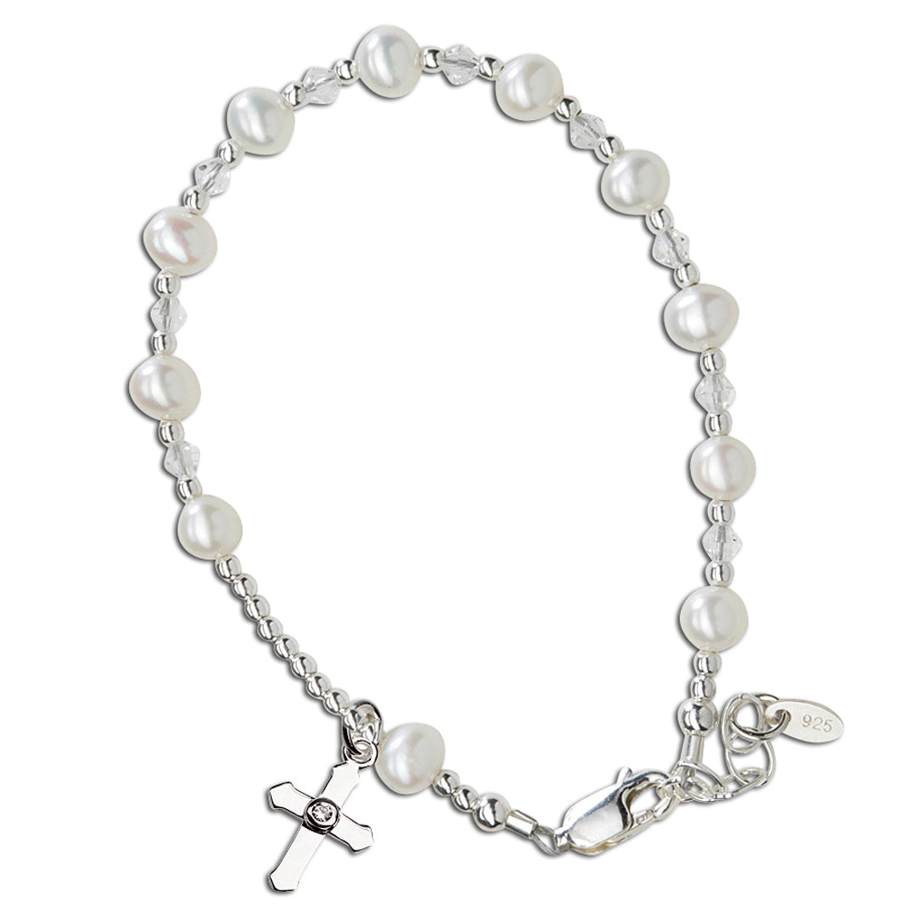 Sterling Silver First Communion Rosary Bracelet (FCB-Rosary)
