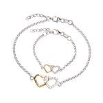 Mom and Me Bracelet Set - Double Hearts Gold-Plated/Sterling Silver