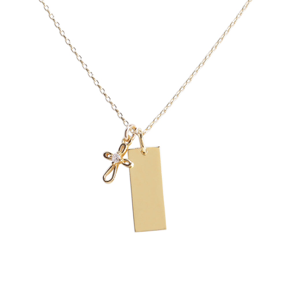 Gold-Plated Bar Necklace with Cross (Engraveable)