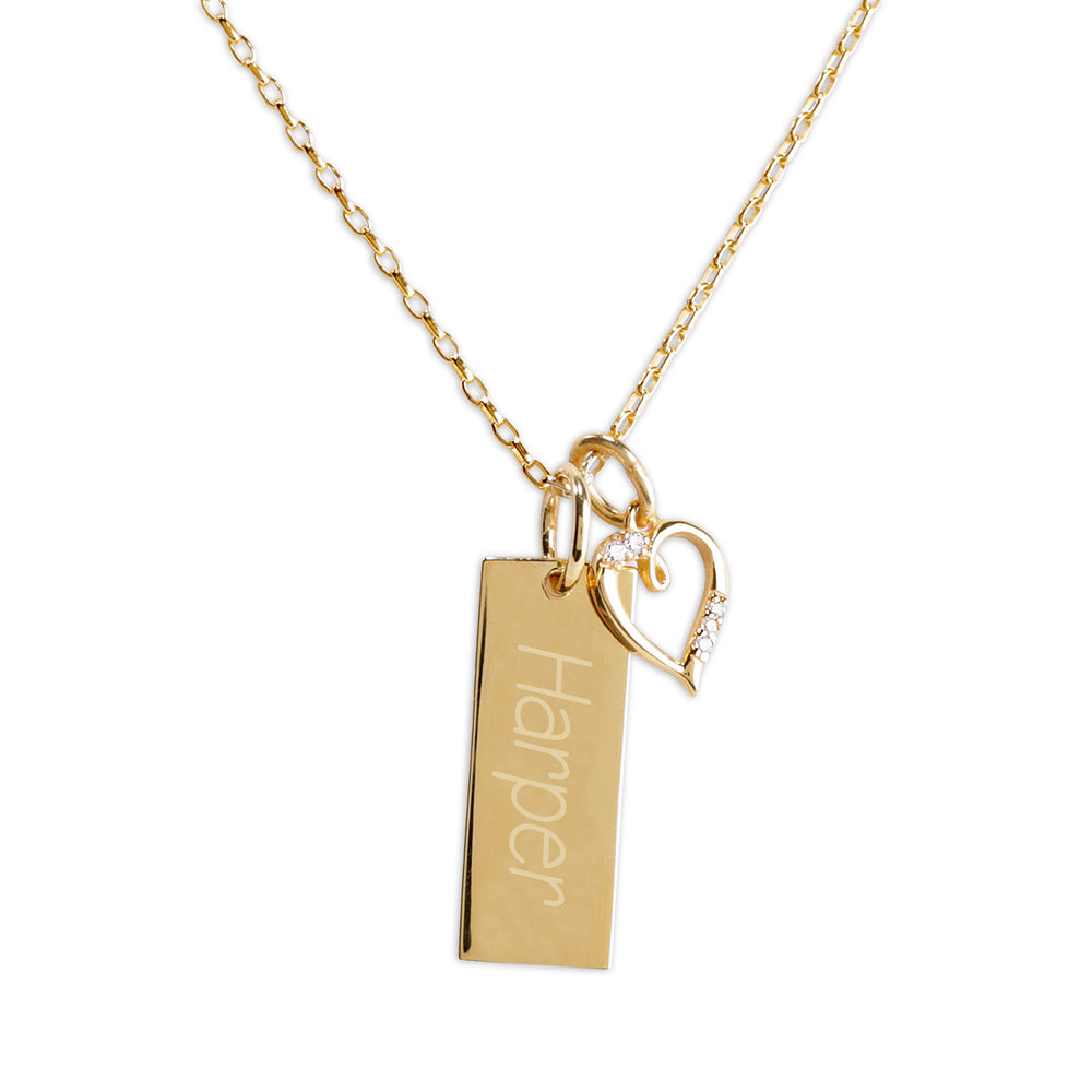 Gold-Plated Bar Necklace with Heart (Engraveable)