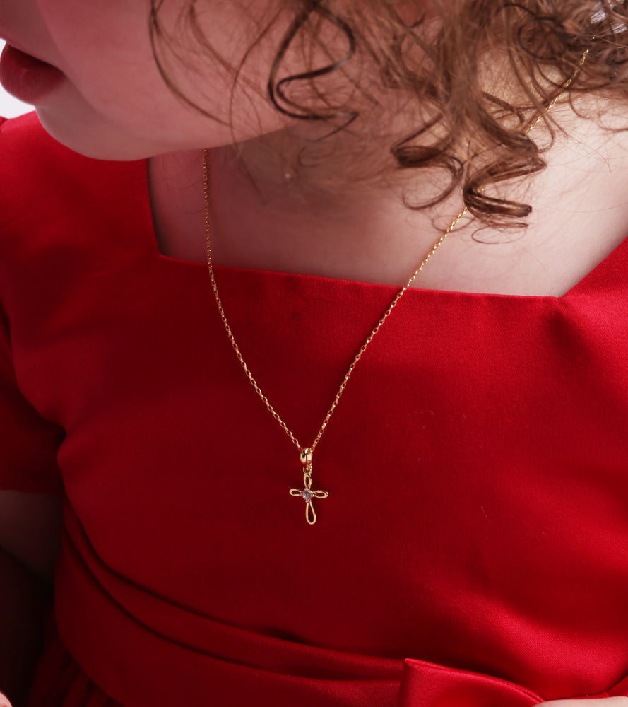 Child's 14K gold cross necklace for toddlers