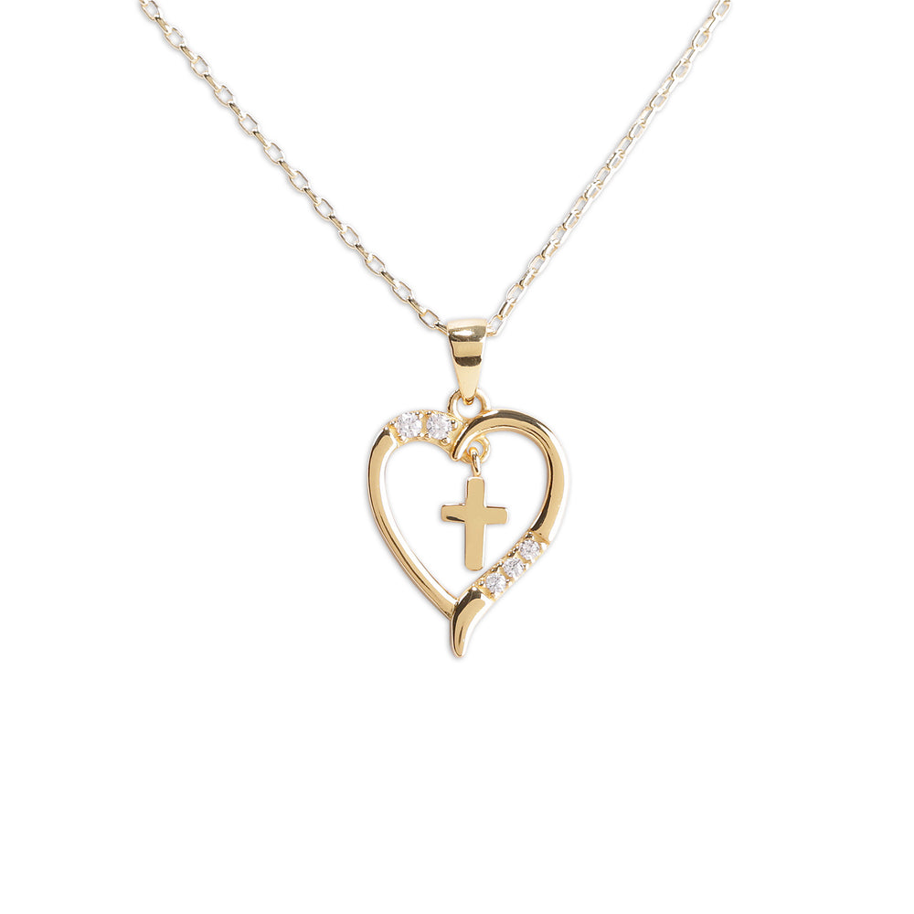 Gold-Plated Children's Dancing Cross Heart Necklace